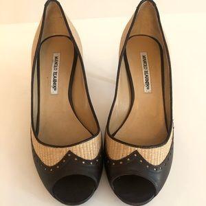 Manolo Blahnik nude and dark brown open toe pumps